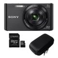 Cyber-shot Digital Camera W830 with Case and 32GB Memory Card - BLACK